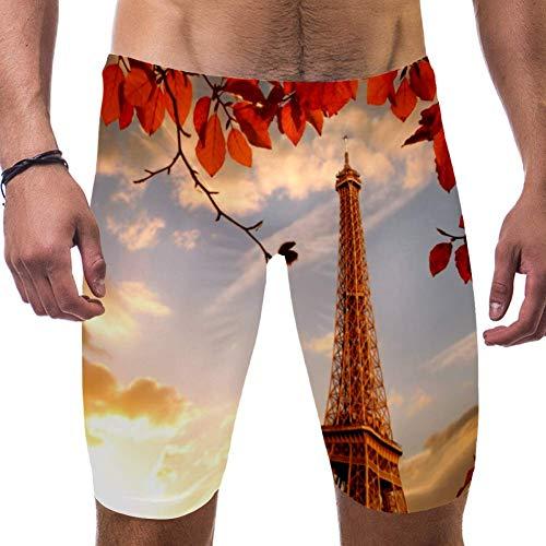 LORVIES Eiffeltoren met bladeren Parijs Frankrijk Mannen Zwemshorts Surf Zwembroek Zwempak Snelle Droge Zwemkleding, S
