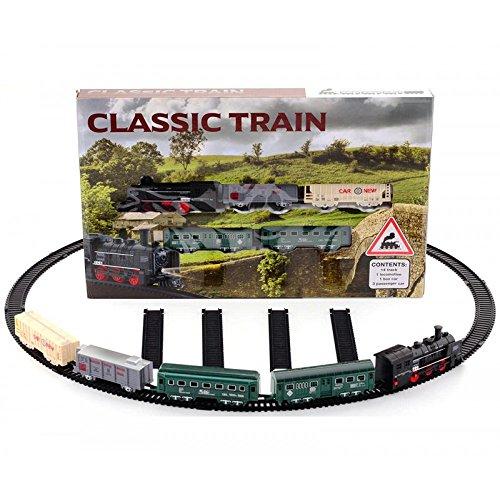 Tren y 4 vagones con circuito eléctrico