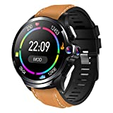Allcall GT 4G Smart Watch with Face Unlock, IP67 Waterproof Fitness Tracker Watch with GPS, Dual Cameras 1.6''Round Display Long Battery Big Memory 3GB RAM 32GB ROM 24h Heart Rate Monitor (Brown)