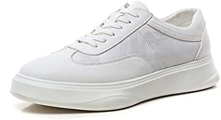 XinQuan Wang Leisure Skate Sneaker for Men Athletic Shoes Lace up Microfiber Leather & Mesh Patchwork Round Toe Flat Anti-Skid Solid Color (Color : White, Size : 6.5 UK)
