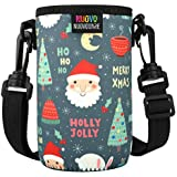 Nuovoware Water Bottle Carrier, Premium Neoprene Portable Insulated Water Bottle Holder Bag 550ML with Adjustable Shoulder Strap Fit Stainless Steel & Plastic Bottles, Small Size, Cartoon Christmas