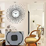 Round Glass Mirror Wall Clock Metal Shell...