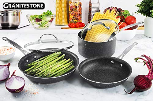 GRANITESTONE 2255 5-Piece Nonstick Cookware Set, Scratch-Resistant, Granite-coated Anodized Aluminum, Dishwasher-Safe, PFOA-Free As Seen On TV