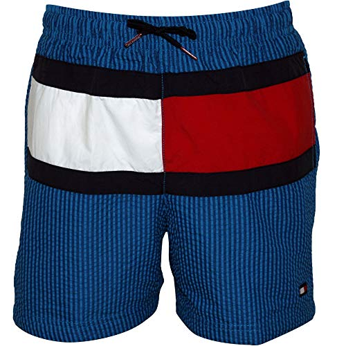 Tommy Hilfiger Ithaca Streifen Flagge Logo Jungen Seersucker Schwimmen Shorts, Blau Alter 6-7 Jahre