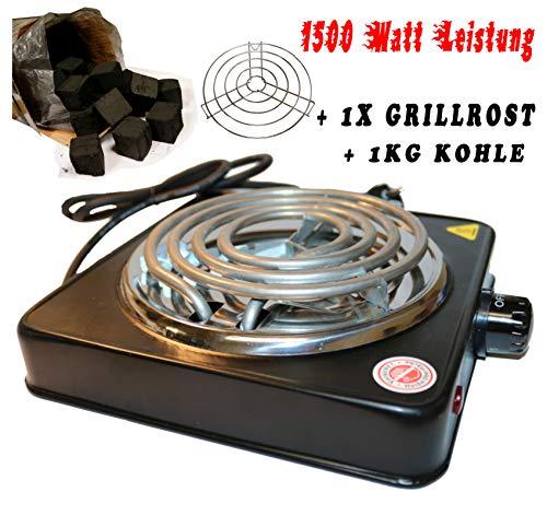 1500W Elektrischer Kohleanzünder für Shisha - Kohle, 5 Stufig regulierbar, Überhitzungsschutz, Edelstahl-Heizspirale, Schutzgitter, Grillanzünder (schwarz +1 Kg Kohle)