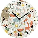 Reloj de pared Dibujos animados Helado Oso Zorro Abeja Sandía Mariposa Silencioso Reloj de pared redondo Sala de estar Reloj de pared duradero Hotel Arte Cocina Dormitorio Clásico Escuela Colorido