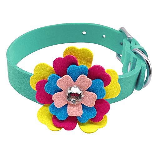 WWHPVP Collar De Perro De Flores, Cuello De Gatito De Gatito De Cristal Floral De Gamuza De Gamita Ajustable para Pequeña Mascota De Perro Medio,Blau,30~37.5cm