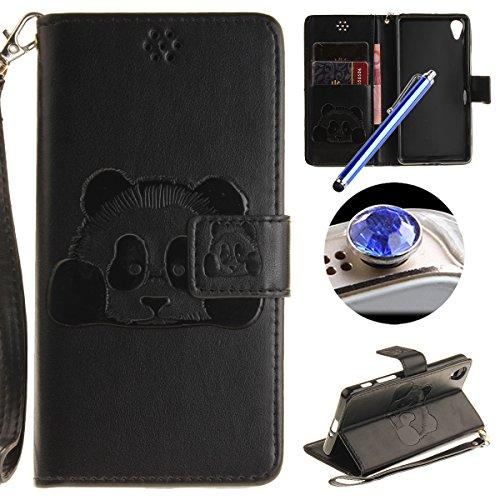 [ Sony Xperia X Performance ] Cuir Coque,Sony Xperia X Performance Housse de téléphone en Cuir, Etsue Retro Panda Motif Portefeuille en Cuir Flip Couverture de Case avec Lanière et Carte de Visite Dossier Fonction pour Sony Xperia X Performance + Cadeaux Gratuit + 1 x Bleu stylet + 1 x Bling poussière plug (couleurs aléatoires)-Noir