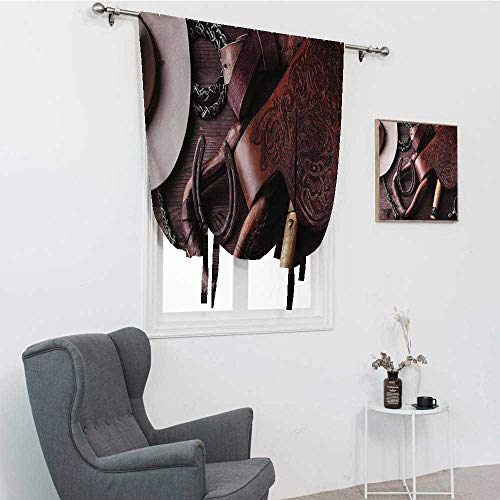 GugeABC Western Decor Roman Blind, Clothes and Accessories for Horse Riding with Kitsch Details Rural Sports Themed Room Darkening Roman Shades, Brown, 30' x 64'