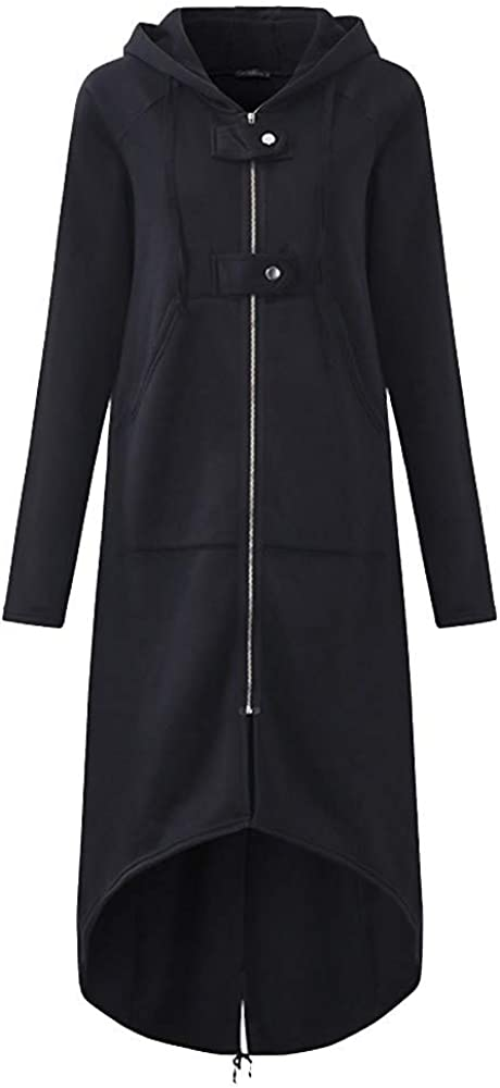 Messigaot Women's Casual Pockets Zip up Hoodies Tunic Sweatshirt Long Hoodie Jacket