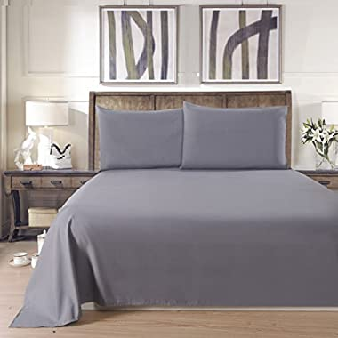 Lullabi Premium Collection 100% Ultra Soft, Double-side Brushed Finish, Microfiber Bed Sheets Set - Fitted, Flat sheet, Pillowcase, Wrinkle, Fade, Stain Resistant (Grey, Twin Size)