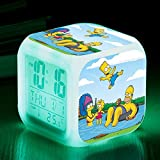 N/Z Gifts for childrenThe Simpsons Colorful Color Alarm Clock LED Mute Small Alarm Clock Gift Quartet,19
