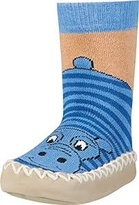 Playshoes Zapatillas con Suela Antideslizante Hippopotamus Pantuflas, Opaco, no Transparente, Azul Blau 7, 31/34 EU Unisex Niños