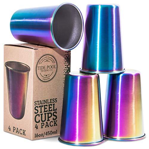 Regenbogen-Edelstahlbecher, 473 ml, ideal für Kinder und Erwachsene, wiederverwendbares Trinkzubehör für Geburtstagsparty, Camping, Reisen, Outdoor, langlebig und unzerbrechlich, BPA-frei