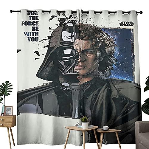 Cortinas opacas con ojales Star Wars Mandalorian Half Face Art Dormitorio con cortinas opacas de 213 x 137 cm