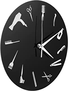 Amosfun Relógio de parede de barbearia, moderno, redondo, de parede, retrô, decorativo, ferramentas de equipe, relógio de ...