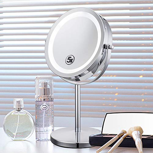 SXFYWYM Led-make-upspiegel, met lichttravel 5 x magnifying spiegel, standing, draagbare batterijvoeding