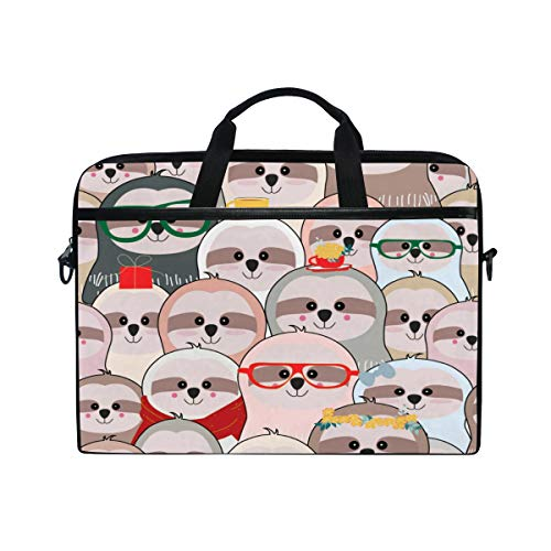 HaJie Laptop Bag Funny Sloth Animal Pattern Computer Case 14-14.5 in Protective Bag Travel Briefcase with Shoulder Strap for Men Women Boy Girls