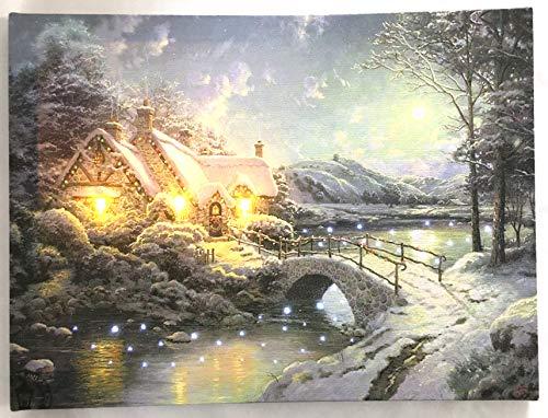 Jürgen Schleiß Konfektion LED-Bild Leinwandbild Leuchtbild Wandbild 30x40cm flackernd Wellnes Landschaft Kerze Weihnachten Winter