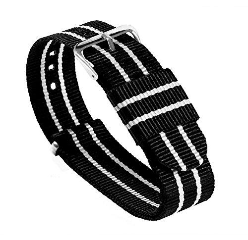 18mm Black/Ivory Standard Length - BARTON Watch Bands - Ballistic Nylon Military Style Straps