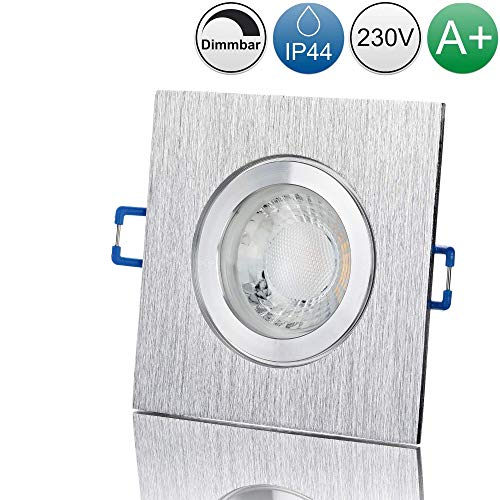 lambado® Premium LED Spot IP44 Dimmbar Alu gebürstet - Hell & Sparsam inkl. 230V 5W GU10 Strahler warmweiß - Moderne Beleuchtung durch zeitlose Bad-Einbaustrahler/Deckenstrahler für Außen