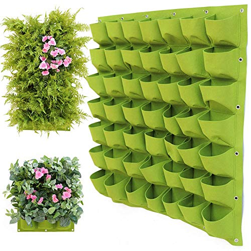 QINS Hanging Wall Planting Bags Pockets Green Growing Bag Planter Vertical Garden Vegetable Seedling Living Garden Bag Home Supplies, 72 Pockets 100x100cm