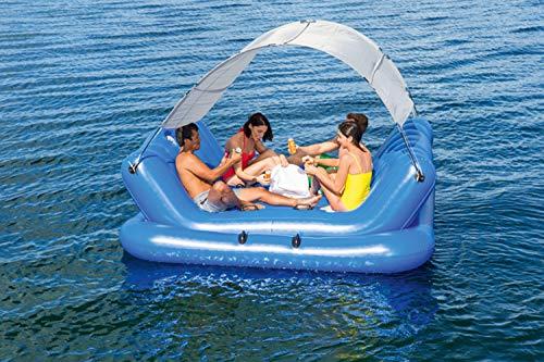 YIZHIYA Fila Flotante Inflable,272×196CM Cama Inflable multijugador de Isla Flotante Cuadrada con toldo,Tumbona del Flotador de la Piscina,Fiestas en la Piscina de Juguetes acuáticos de Verano