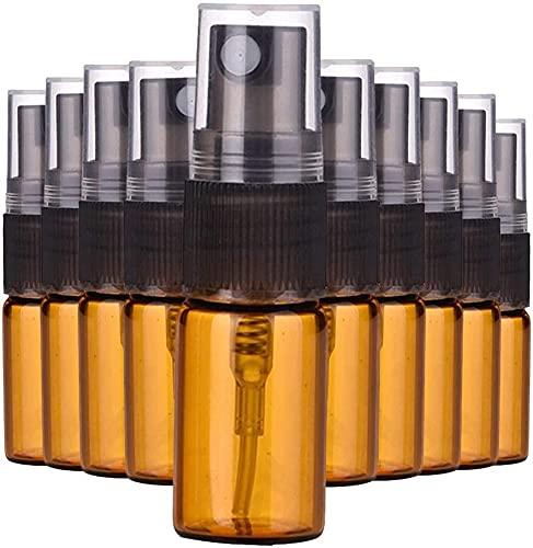Nealan Botella pulverizadora de cristal, pequeña botella vacía para perfume, botella de spray rellenable, recipiente cosmético con bomba pulverizadora (marrón)