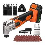 GALAX PRO 20V Multiherramienta Oscilante, 6 Velocidades 5000-19000 OPM, ángulo de oscilación: 3 °, con batería de 1.3 Ah, cargador rápido, para cortar, lijar (naranja)