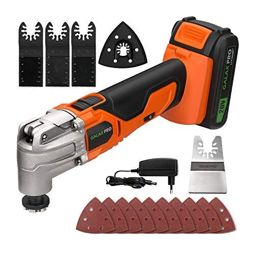 Galax Pro 20 V Herramientas oscilantes, 6 velocidades 5000 – 19000 OPM, ángulo oscilante: 3 °, herramientas eléctricas multifunción con batería 1,3 Ah, cargador rápido, para corte, lijado (naranja)