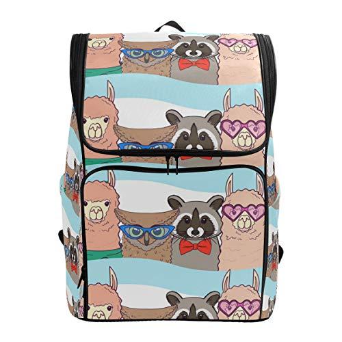 Ahomy Schulrucksack, Llamas Racoons Eulen, groß, wasserdicht, Tagesrucksack, Computer-Rucksack für Arbeit und College