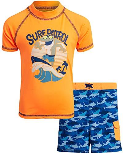 Mick Mack Boys' 2-Piece UPF 50+ Rash Guard and Swimsuit Trunks Set, Size 3T, Orange Surf Patrol