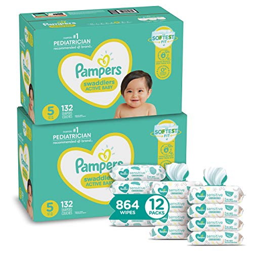 Pampers Swaddlers Disposable Baby Diapers Size 5, 2 Month Supply (2 x 132 Count) with Sensitive Water Based Baby Wipes, 12X Pop-Top Packs (864 Count)