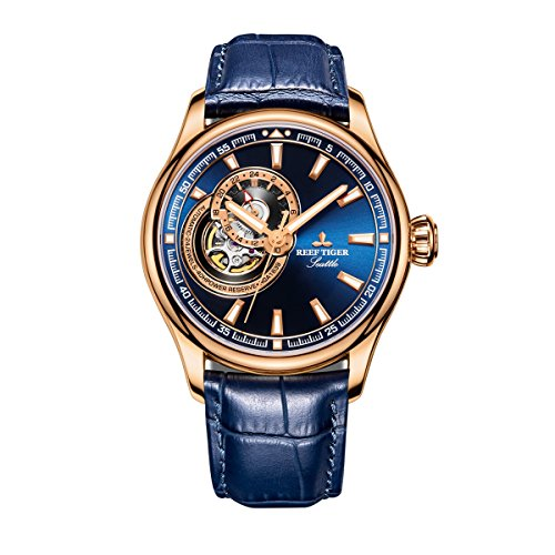Reef Tiger Blue Casual Gold Men Watch with Tourbillon Automatic Watches RGA1639 (RGA1639-PLL)