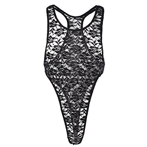 IWEMEK Herr spets bodysuit blommiga trosor genomskinlig singlet Sissy Mesh Mankini Sheer trikåer underkläder rygglös väst ärmlös en del string högt skurna underkläder sparkdräkt kostym