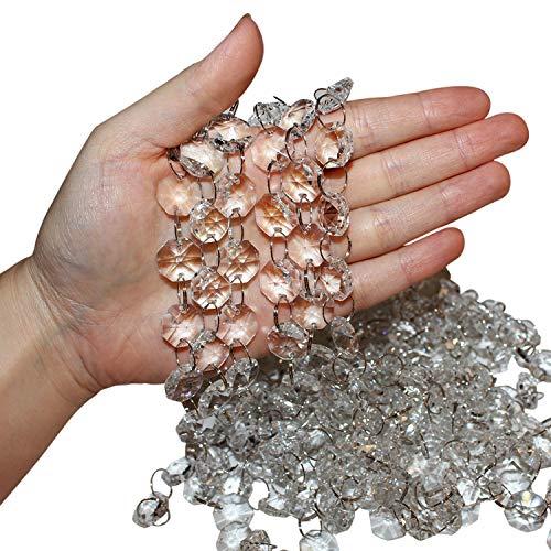 Belle Vous Set de Abalorios Cristal en Cadena (Pack de 6 - Cada una de 1 m de Largo) Cristales Decorativos Transparentes 2 cm Octagonal para Arañas Cortinas de Puerta, Decoración de Bodas, Hacer Joyas