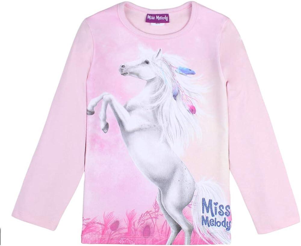 rosa Miss Melody M/ädchen T-Shirt Langarmshirt