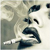 アートポスターHdプリントモダンな喫煙メイク女性キャンバス絵画タバコの壁アートポスターLivngトイレ家の装飾(70x70cm)フレームレス