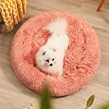 Calming Dog Bed for Small Medium Dogs Cats Donut Dog Bed Pet Cushion Bed Plush Cat Bed Round Anti-Anxiety Dog Bed Orthopedic Dog Bed, Machine Washable, 23inch Pink