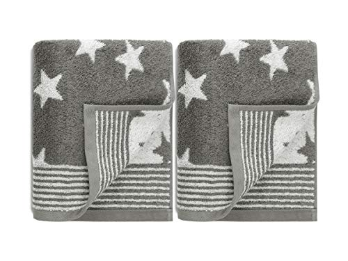 Doppelpack zum Sparpreis - Frottiertücher aus dem Hause Dyckhoff - Handtuch oder Duschtuch - elegantes Streifendesign kombiniert mit Sternen - geprüfte Qualität, Handtuch [50 x 100 cm], grau