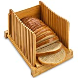 ZAFUU Bamboo Bread Slicer – Natural Wood Foldable Cutter for Homemade Bread, Loaf Cakes, Bagels. Compact, Folds Flat.