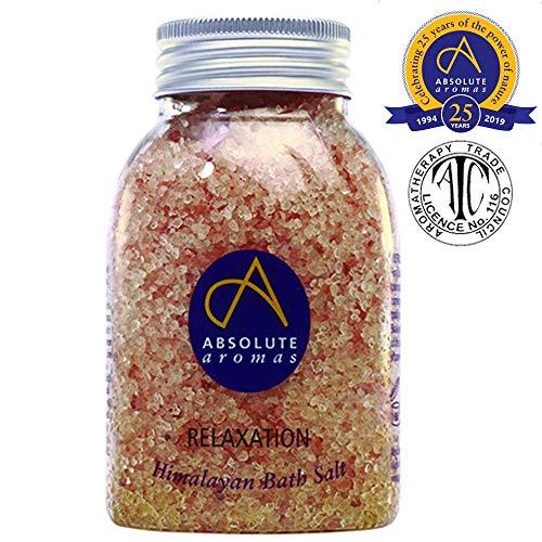 Absolute aroma's ontspannend badzout 290 g – natuurlijk roze Himalayazout met 100% pure etherische lavendel, bergamot, May Chang en Ylang Ylang Olie – kalmerende en ontspannen vermoeide spieren.