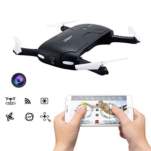 Kingtoys Selfie RC Drone JJRC H37 Elfie 2.4G 4CH Mini Drone Wifi FPV Alta Hold Mode Cámara Selfie 0.3MP Teléfono Control RC Quadcopter RTF Helicóptero, Negro