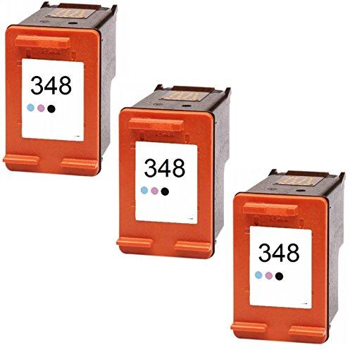 Printing Pleasure 3 Foto-Tintenpatronen für HP PSC 1610 OfficeJet 6310 J6410 H470 DeskJet 460 5420 6840 6940 9800 D4260 Photosmart C4480 C4580 2610 7850 8050 8150 8750 | kompatibel zu HP 348 (C9369EE)