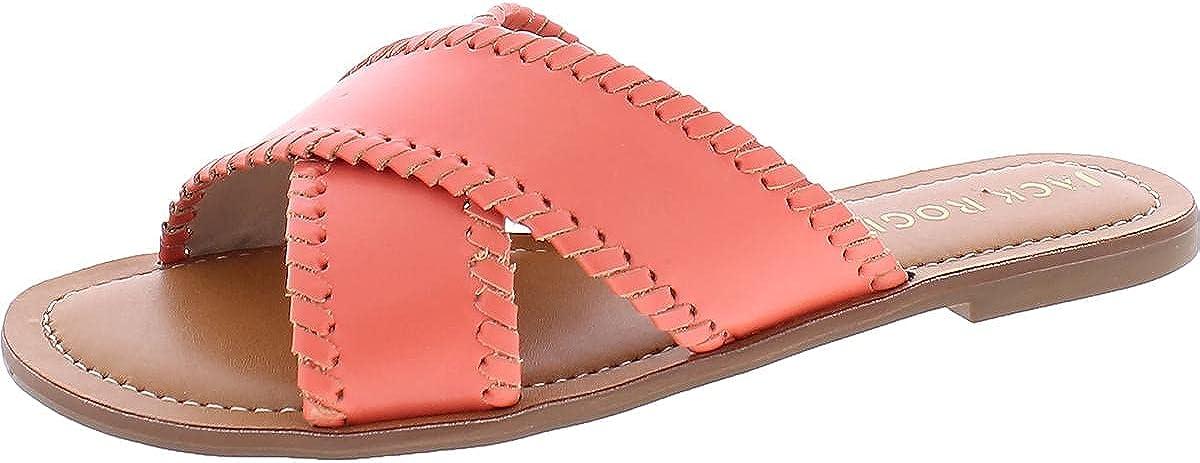 Jack Rogers Womens Sloane Leather Slides Flat Sandals