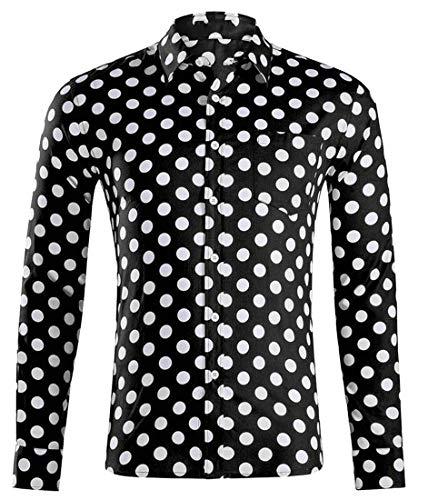 H&E - Camisas de manga larga para hombre con estampado de lunares Negro Negro ( M