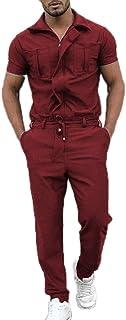 Men's Fashion Style Jumpsuit Solid Color Short Sleeve One Piece Overalls Jumpsuit Work Dungarees Jumpsuit