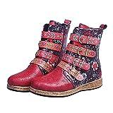 QEEN Botas de Mujer Retro Impreso Hebilla de Metal con Cremallera de Cuero Suave Botines de Tobillo Zapatos para Mujer (Color : Colorful, Shoe Size : 36)