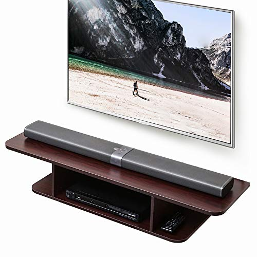 FITUEYES Floating TV Stand Wall Mounted Media Console Entertainment Storage Shelf Brown