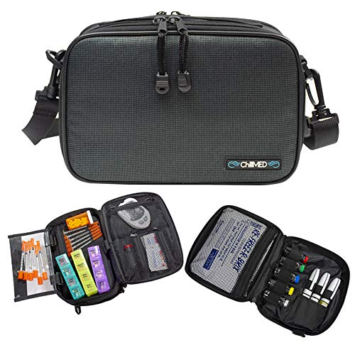 ChillMED Elite Diabetic Organizer Supply Kit | Insulin und Medikamente Reise Kühltasche - Schiefer